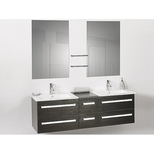 Classy Floating Bathroom Vanity, with Double Sinks and Mirrors - MADRID Black