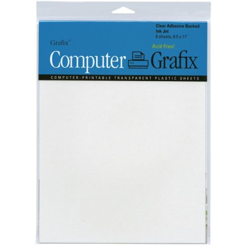 "Grafix Ink Jet Adhesive Film 8.5""X11"" 6/Pkg-Clear"