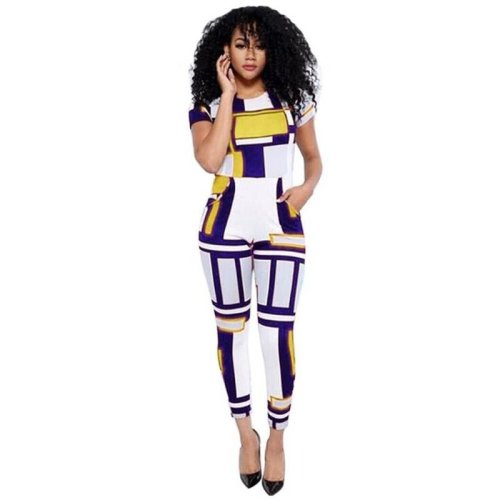 Women Jumpsuits Long Pants Short Sleeve Sexy Bodycon Woman Rompers Plus Size Clothes WS168E