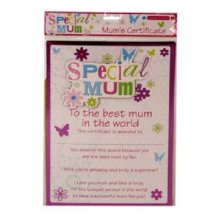 Special Mum Certificate Best Mum In World Mothers Day Birthday Christmas Gift