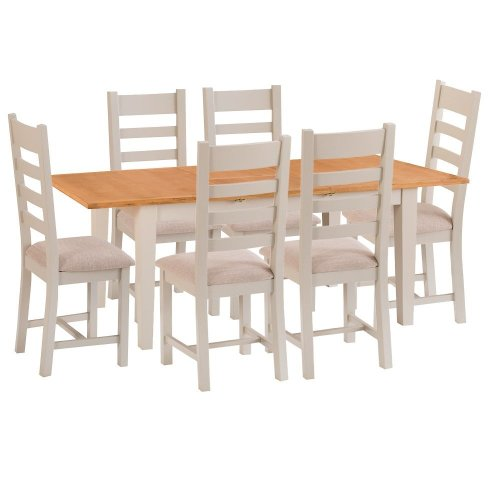 St. Ives Truffle Painted Oak 1.2m Ext. Table & 6 Fabric Seat Chairs