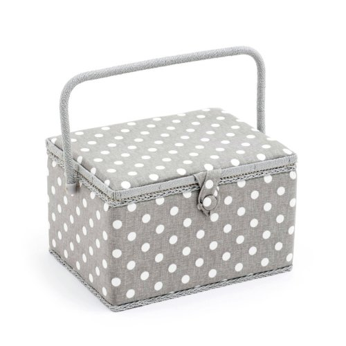 Hobbygift Value Collection: Sewing Box (L): Rectangle: Grey Linen Polka Dot, Cotton Blend, Assorted, 25 x 25 x 17 cm