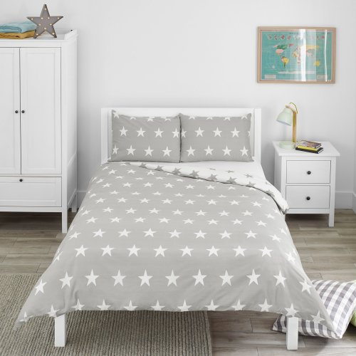 Bloomsbury Mill Grey & White Stars - Reversible Bedding Set - Double Duvet Cover and 2 Pillowcases