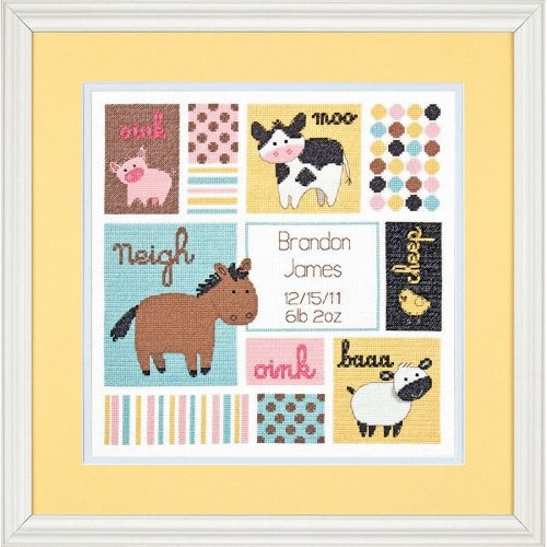 D70-73560 - Dimensions Counted X Stitch - Birth Record: Barn Babies