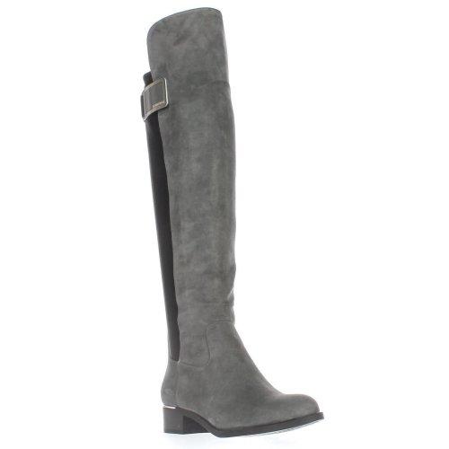 Calvin Klein Cyra Wide Calf Turlock Boots, Shadow Grey/Black, 3 UK