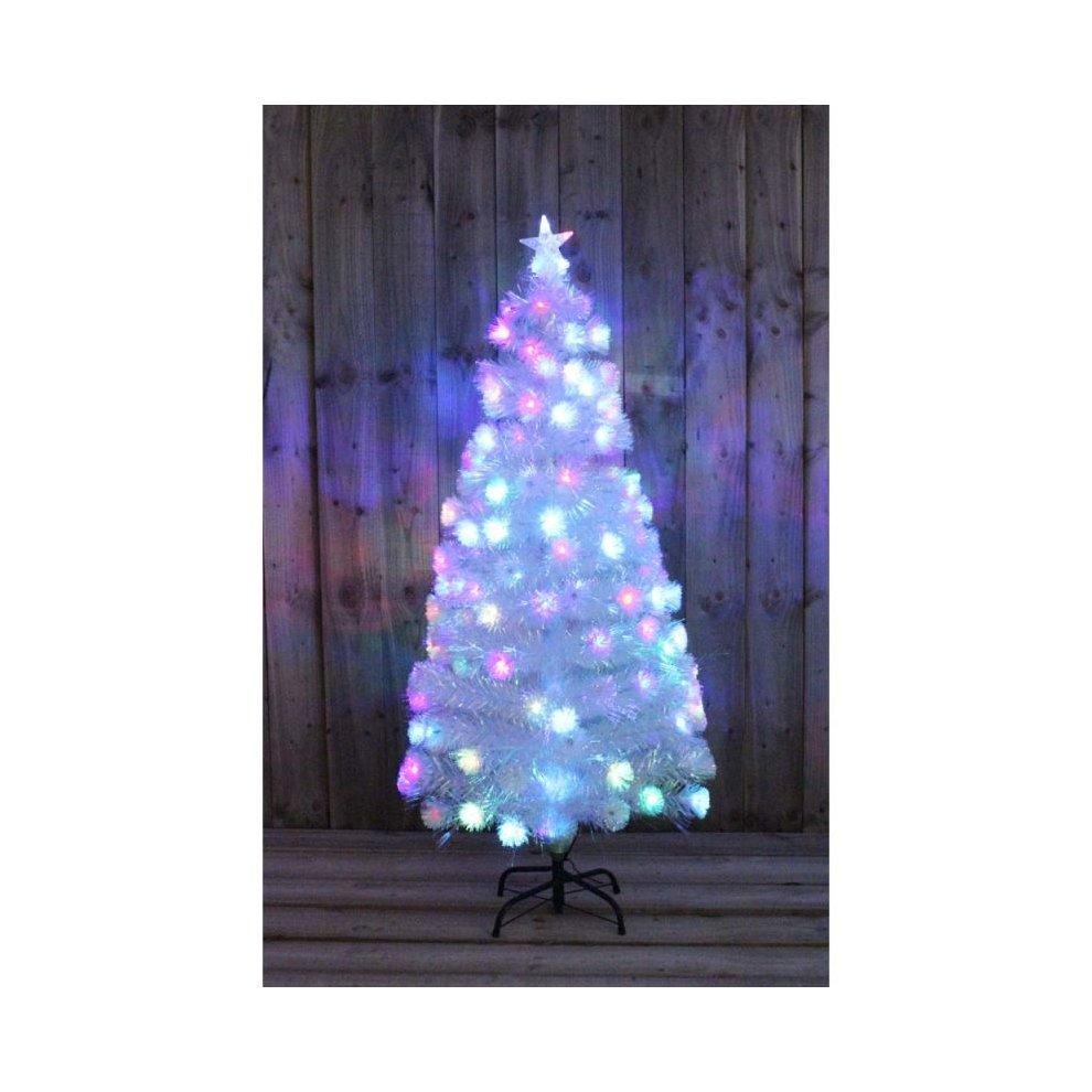 Kingfisher 3ft White Rainbow Pre Lit Christmas Tree Fibre Optic Xmas Led Decoration