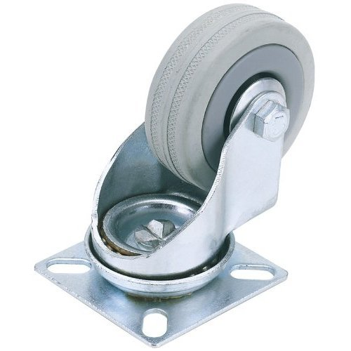 100mm Draper Rubber Castor Plate -  draper rubber castor swivel plate fixing 100mm 80kg dia swl 65478
