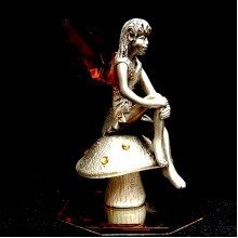 Crystal and Metal Fairy on a Toadstool Ornament