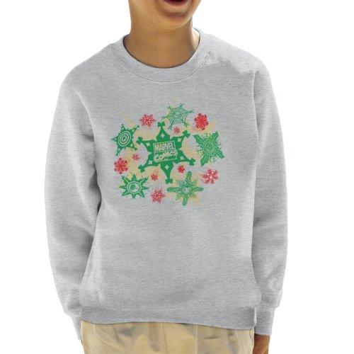 (Large (9-11 yrs), Heather Grey) Marvel Christmas Comics Logo Snowflake Explosion Kid's Sweatshirt