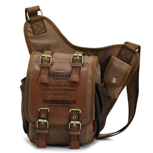 KAUKKO Men Retro Canvas Travel Shoulder Bags