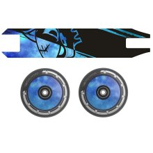 Combo Pair Team Dogz Blue Galaxy Scooter Wheels 110mm Hollow Core + Grip Tape