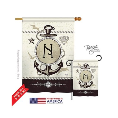 Breeze Decor 30196 Nautical N Monogram 2-Sided Vertical Impression House Flag - 28 x 40 in.