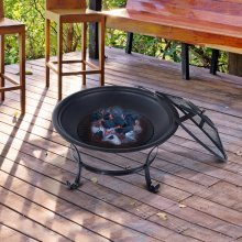 Outsunny Patio Garden Metal Round Fire Pit Metal