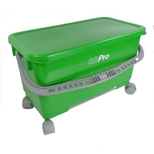 GBPro 24 Litre Window cleaners/Floor cleaning bucket with watertight lid + Wheels, Hangers