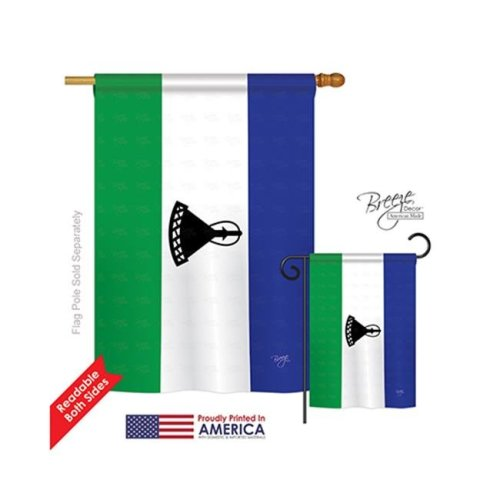Breeze Decor 08288 Lesotho 2-Sided Vertical Impression House Flag - 28 x 40 in.