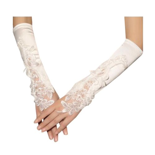 Women Bridal Long Lace Gloves Elbow Fingerless Wedding Party Costume Prom - A5