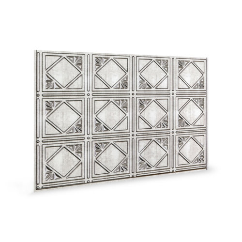 Profhome 3D 70563 Artnouvo Crosshatch Silver Decor panel 3D shiny silver 1,7 m2