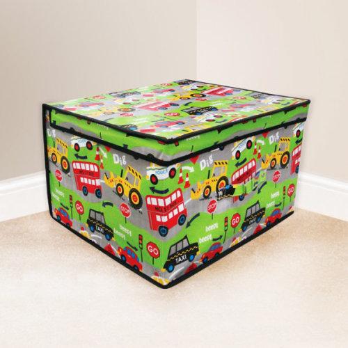 Country Club Child's / Boy's Road Works Jumbo Storage Box 50 x 30 x 40cm - Toy -  storage box toy childrens chest kids tidy large clothes jumbo