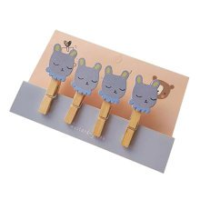 Creative Natural Wooden Lovely Photo Paper Peg Pin Craft Clips with 52CM Jute Twine, NO.7
