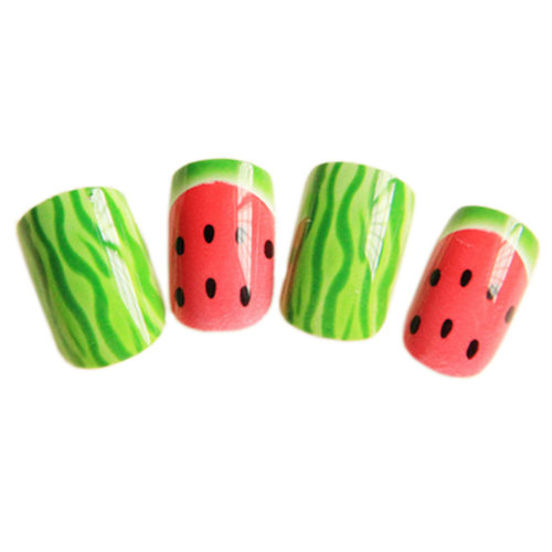 24 Pcs Stylish and Charming Pre-designed False Nails Art for Girls, Watermelon