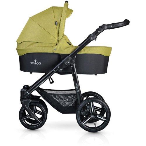Venicci Soft Pure Black Chassis 3-in-1 - Denim Green Travel System