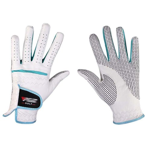 Professional High Quality Women Golf Gloves Golf Gift, White&Blue(#19)