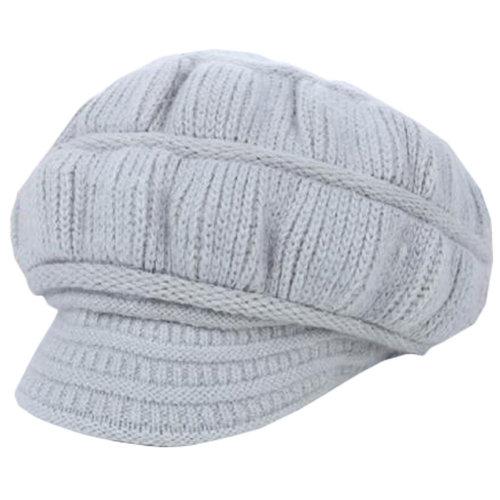 Outdoor Cycling Cap Female Winter Keep Warm Knit Benn Wool Cap Gray