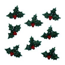 Glitter Holly - Novelty Craft Buttons & Embellishments by Dress It Up