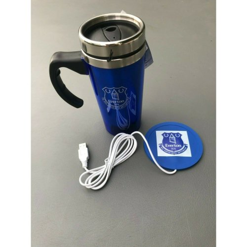 Everton Travel Mug and USB Cup Warmer Coaster Set -Everton Mug/Coaster