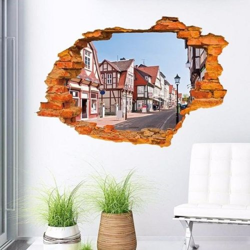 3D Broken Wall Building Window Removable Vinyl Decal Art Sticker Mural Home Decor