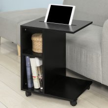 SoBuy® FBT48-SCH, Side Table End Table Coffee Table on Wheels, Black