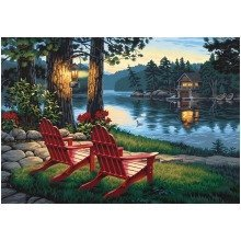 Dpw91357 - Paintsworks Paint by Numbers - Adirondack Evening