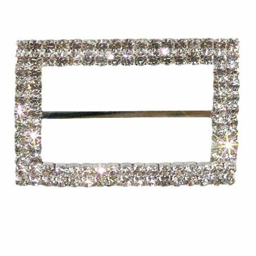 Stunning Large Rectangle Buckle Double Row of Grade A Rhinestone Diamantes Chair Sash Covers