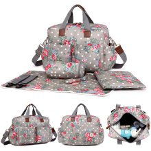 Miss Lulu Baby Diaper Nappy Changing Bag Set Large Mummy Maternity Handbag Flower Bird Cat Dog Butterfly Dots Print Matte Oilcloth / PU Leather