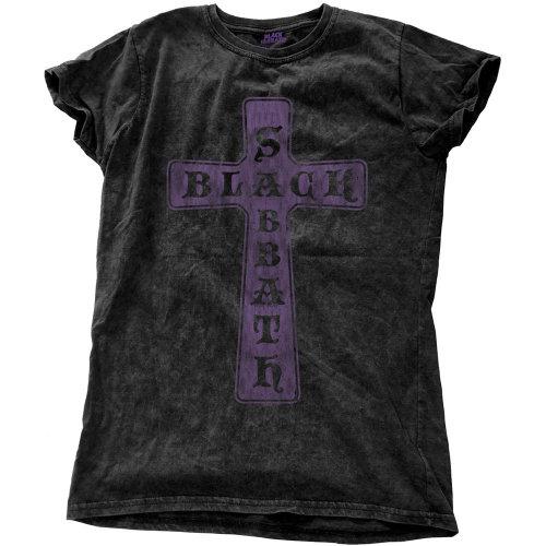 Black Sabbath Women's Cross Black Vintage T-shirt -  black sabbath vintage cross tshirt womens snow wash new official stone washed ladies womans
