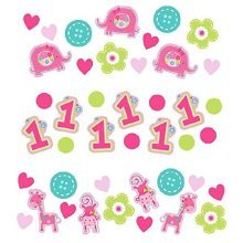 Wild at One Girl's First Birthday 3 Pack Confetti