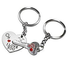 Love Heart Key Engraved I Love You Mars Venus Silver Metal Couple Keyrings Lovers Puzzle Key Chains