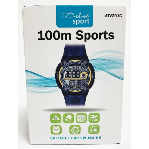 Active Sport 100m Watch for Swimming Digital ATV201C Blue