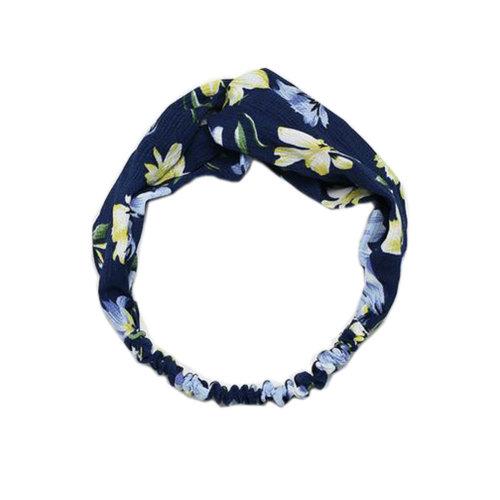 Women Elastic Hairband Hair Accessories Girl Head Wrap Cute Simple Headband-Flower,  Blue