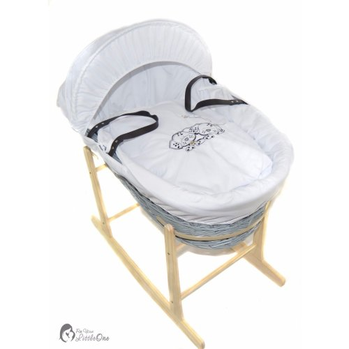 Grey Wicker Moses Basket And Natural Rocking Stand - Dogs