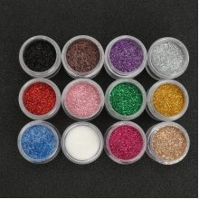 12 Colors Glitter Dust Powder Sequins Set For Nail Art Tips Decoration DIY Eyeshadow Tattoo