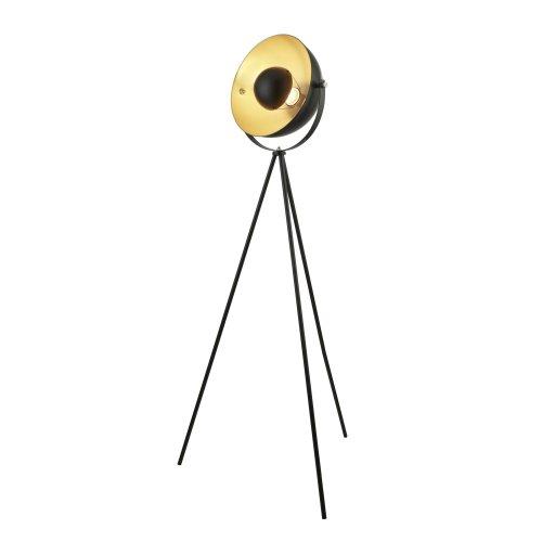 Searchlight Blink 1 Light Tripod Floor Lamp Matt Black With Gold Shade Interior