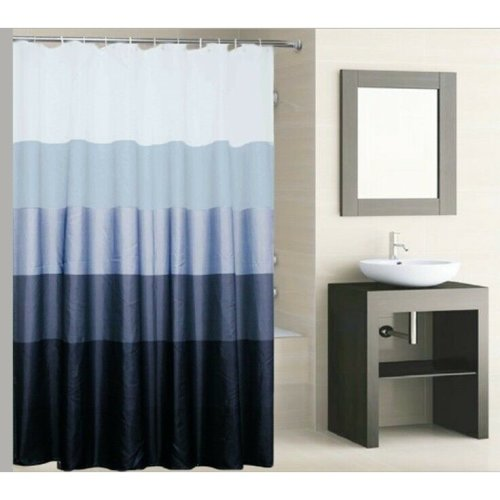 Knightt Polyester Striped Shower Curtain 180 x 180cm Incl Hooks, Machine Washable