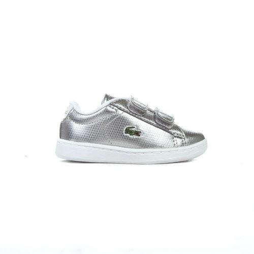Lacoste Carnaby Evo Strap Infant Kids Girls Trainer Shoe Metallic Silver