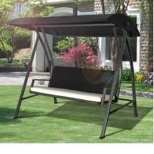 Outsunny 3 Seater Swing Chair | Black Rattan Garden Seat