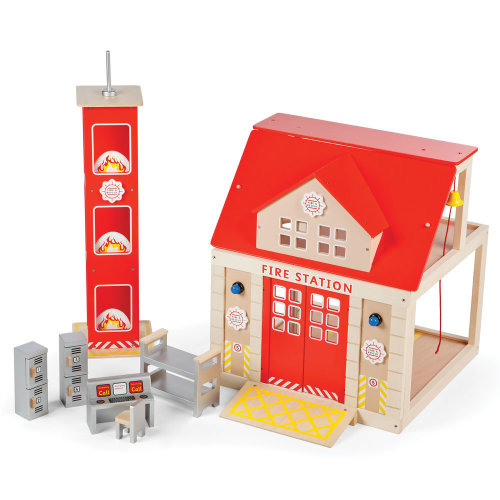 Tidlo Wooden Fire Station Playset