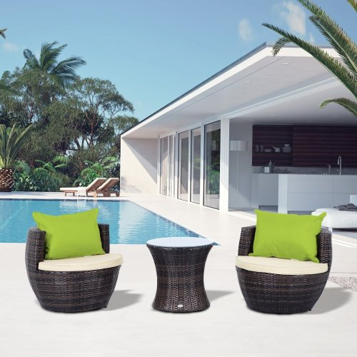 Outsunny Outdoor Rattan 3pc Stackable Vase Set with Coffee Table