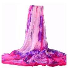Silk Scarves Chiffon Fabric Beach Towel Shawl Uv-blocking