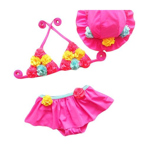 Cute Flower Girl Two-Piece Swimsuit Girls Bathing Suits Girls Bikini,17.5-22.5kg