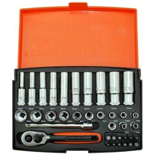 """Bahco 37 Pce 1/4"""" Mini Ratchet Hex Deep/long Socket & Screwdriver Bit Set Sl25l"""